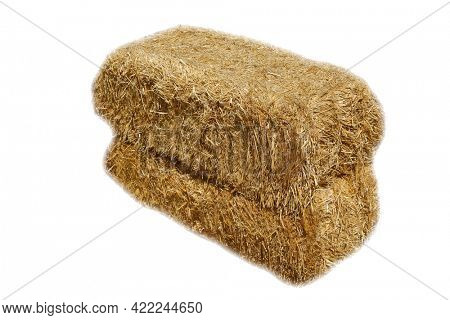 Piled stacks of dry straw collected for animal feed. Dry baled hay bales stack. Hay Bales piled up for Seating and barricades. Hay Bales Isolated on white.