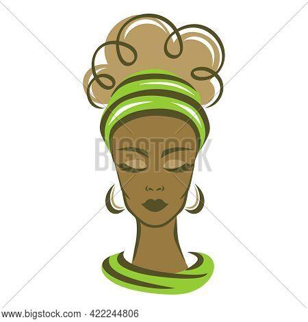 Beautiful Woman With Dark Skin. Green Headband. Thick Curled Hair, Closed Eyes, Long Eyelashes. Calm