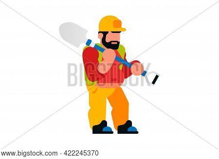Worker Holding A Shovel. Male Builder And Shovel. Vector Illustration Isolated On White Background