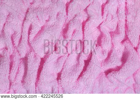 Pink Textile Terry Background. Terry Towel Or Bathrobe Close Up.