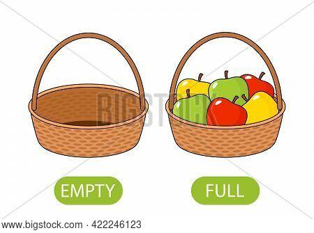 Empty And Full Basket Of Apples. Concept Of Children Learning Opposite Adjectives. Vector Illustrati