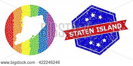 Dot Spectral Map Of Staten Island Mosaic Composed With Circle And Stencil, And Distress Stamp. Lgbt
