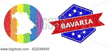 Pixel Bright Spectral Map Of Bavaria State Mosaic Created With Circle And Subtracted Space, And Text