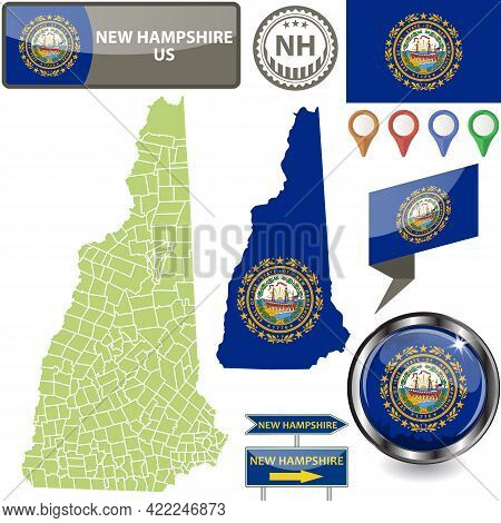 Map Of New Hampshire State, Us With Flag And Counties. Vector Image