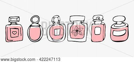 Perfume Or Perfume Icons Set. Perfume Bottle, Fragrance.cosmetic Beauty. Vector