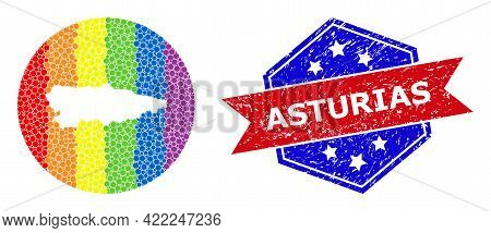 Pixelated Spectrum Map Of Asturias Province Mosaic Designed With Circle And Subtracted Shape, And Gr
