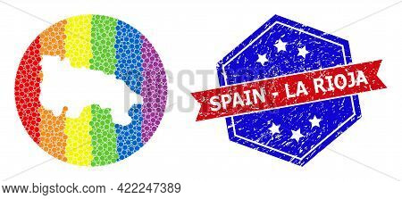 Pixelated Spectrum Map Of Spain - La Rioja Mosaic Created With Circle And Carved Shape, And Distress