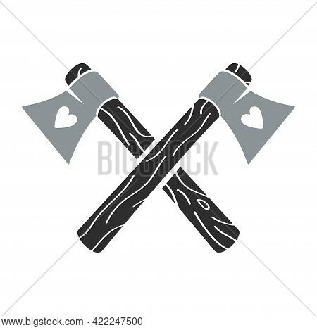 Crossed Axes With The Hearts, Vector Icon.
