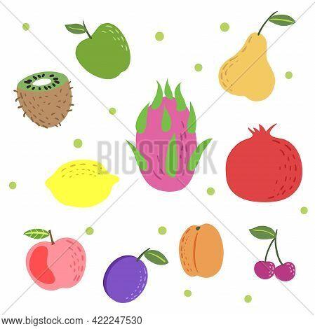 Hand Drawn Colorful Exotic Fruit Set. Doodle Childish Style. Apple, Kiwi, Dragon Fruit, Pomegranate,