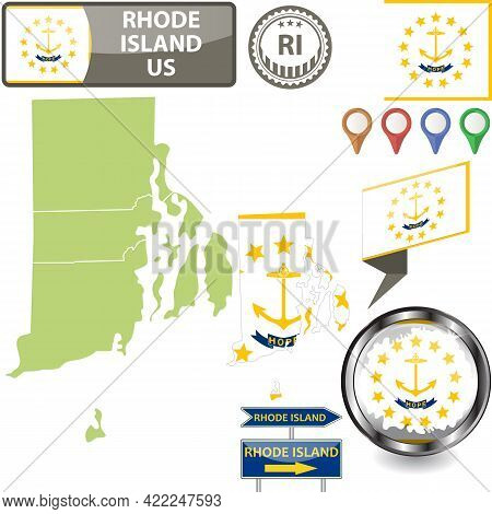 Map Of Rhode Island State, Us With Flag And Counties. Vector Image