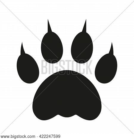 Paw Footprint Of A Tiger Wild Beast. Flat Vector Illustration Isolated On White Background