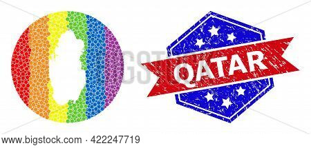 Pixel Rainbow Gradiented Map Of Qatar Collage Designed With Circle And Hole, And Grunge Seal Stamp.