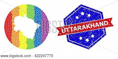 Dotted Spectral Map Of Uttarakhand State Mosaic Created With Circle And Subtracted Shape, And Distre