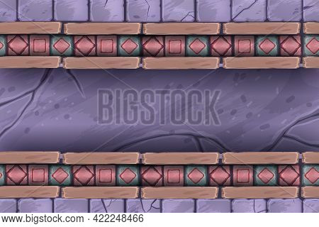 Stone Mosaic Seamless Pattern, Marble Vector Geometric Abstract Texture, Brick Castle Wall Frame, Ti