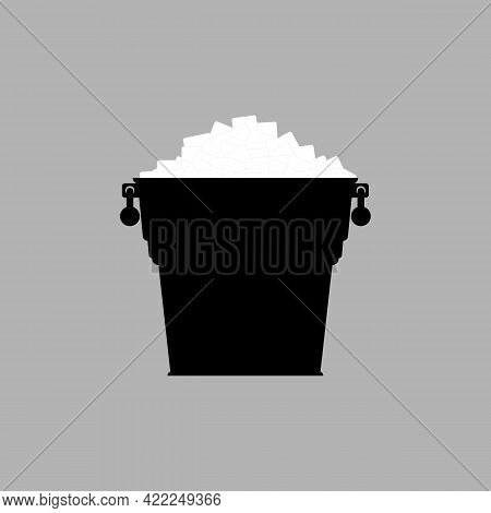 Silhouette Of A Bucket With Ice Cubes. Pail With White Ice. Vector Illustration.