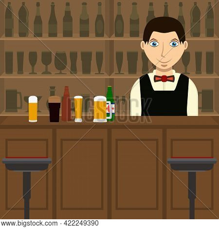 Beer Bar Inside With Barman And Bar Counter. Bartender With Set Of Beer Mugs, Bottles And Alcoholic