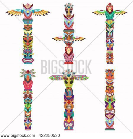 Traditional Totem Pole With Tiki Mask And Eagle. Vector Cartoon Flat Icons Set Isolated On White Bac