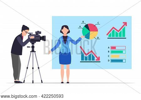 Economic News. People Record Reportage. Tv Presenter In Studio. Woman Shows Infographics And Diagram