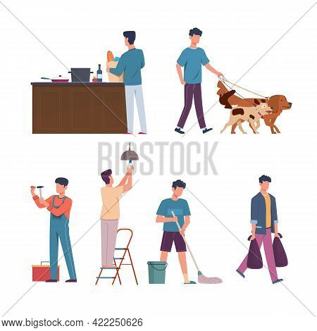 Men Domestic Affairs. Housekeeping Concept. Male Mops Floor And Takes Out Trash. Character Repairs O