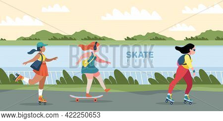 Skate Park. People Skating Or Skateboarding. Natural Area With Skateboard Track. Women Training Outd
