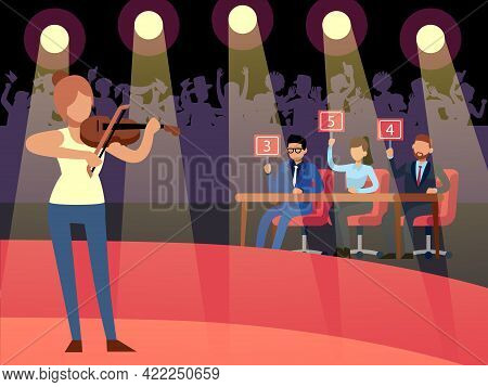 Talent Show. Creative Competition. Woman Playing Violin. Jury Evaluates Performance And Give Marks.