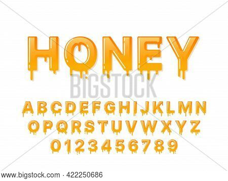Honey Font. Flowing Syrup Capital Letters And Numbers With Droplets. Melting Design Alphabet. Sweet