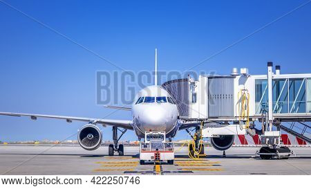 Modern White Airliner Is Ready For Taxiing