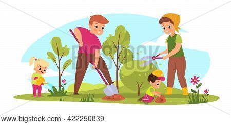 Family Gardening. Parents And Children Take Care Of Plants. Seasonal Farm Work. Mother Cuts Bush. Fa