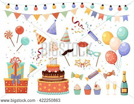 Birthday Party Decorations. Cartoon Holiday Elements Set. Flags Or Light Garlands. Carnival Masks An