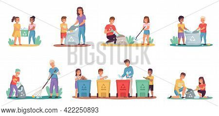 People Sort Garbage. Kids With Parents Clean Up Trash. Characters Put Rubbish In Containers Or Bags