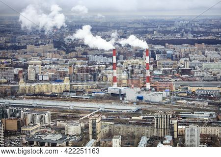 Moscow, Russia - April 2021, Above View Of East Of Moscow From Observation Deck At The Top Of Tower
