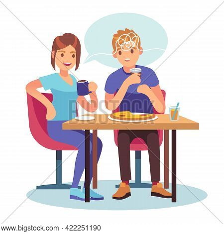 Friends Gossip. Cartoon Couple Chatting In Cafe. Girl Tells News To Boy. Surprised Man And Woman Sit