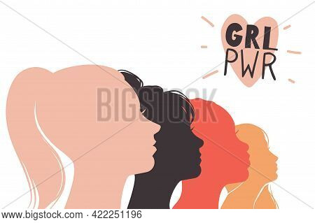 Girls Power. Feminism Concept. Female Profiles And Heart Sign With Abbreviation. Heads Silhouettes.