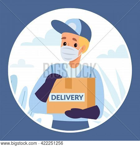 Protected Delivery Peephole View. Person Looks Through Hole In Door. Courier Brings Parcel. Man In P