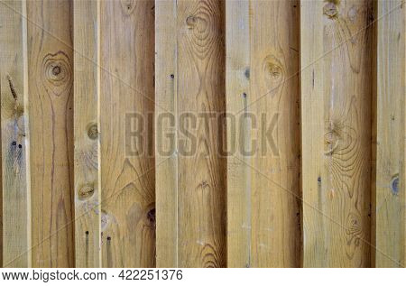 Textured Background Of Old Wood Planks, House Wood Panel Siding, Close-up, No People
