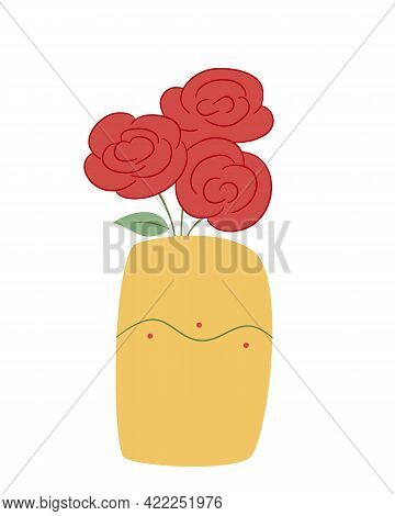 A Bouquet Of Three Red Lush Roses In A Wide Yellow Vase With A Wavy Pattern. Colored Isolated Illust