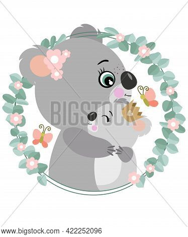 Scalable Vectorial Representing A Mum Koala Hugging Her Baby On Eucalyptus Leaves Frame, Element For