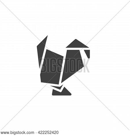 Turkey Origami Vector Icon. Filled Flat Sign For Mobile Concept And Web Design. Paper Turkey Bird Gl
