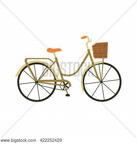 An Elegant City Bicycle With A Basket. Colorful Vector Isolated Illustration Hand Drawn. Bicycle Day