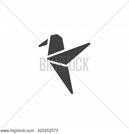 Hummingbird Origami Vector Icon. Filled Flat Sign For Mobile Concept And Web Design. Paper Hummingbi