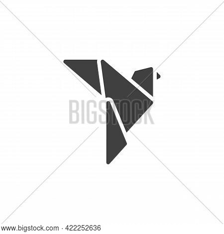 Dove Origami Vector Icon. Filled Flat Sign For Mobile Concept And Web Design. Paper Dove Bird Glyph