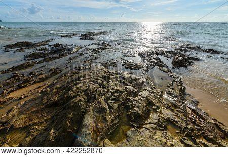 Rock And Black Sand At Nangthong Natural Black Beach In Thailand,kholak Phangnga Province, Amazing A