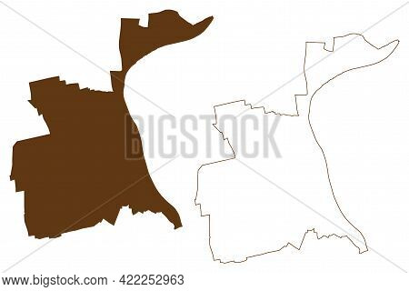 Worms City (federal Republic Of Germany, State Of Rhineland-palatinate, Urban District) Map Vector I