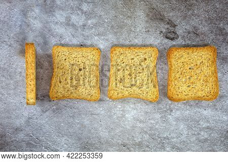 Minimal Conceptual Photo Of One Thousand Number Obtained With Three Rusks. High Quality Photo
