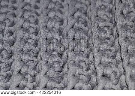 Background Close-up Of Gray Canvas,crocheted,yarn-knitwear.dense,three-dimensional Pattern.handmade
