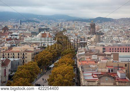 Barcelona, Spain - October 26, 2015: Aerial View Of La Rambla Promenade From Christopher Columbus Mo