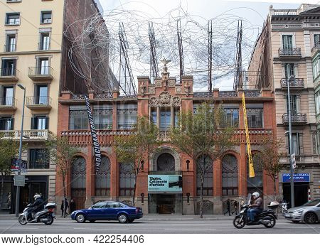 Barcelona, Spain - October 27, 2015: View Of The Fundacio Antoni Tapies Foundation, A Cultural Cente