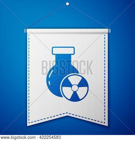 Blue Laboratory Chemical Beaker With Toxic Liquid Icon Isolated On Blue Background. Biohazard Symbol