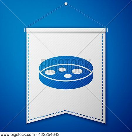 Blue Petri Dish With Bacteria Icon Isolated On Blue Background. White Pennant Template. Vector