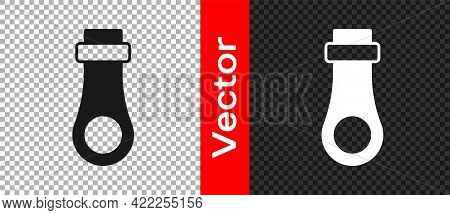 Black Zipper Icon Isolated On Transparent Background. Vector